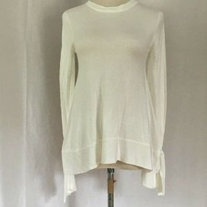 A New Day Hi-Lo Split Cuff Sweater Cream Size S